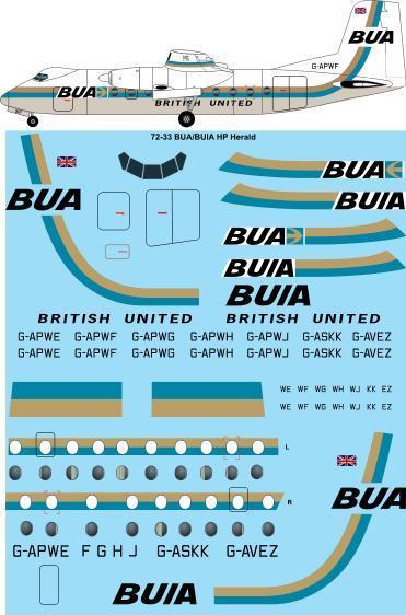 1/72 Scale Decal BUA / BUIA Handley Page HPR-7 Herald