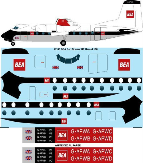 1/72 Scale Decal BEA Red Square HP Herlald 100