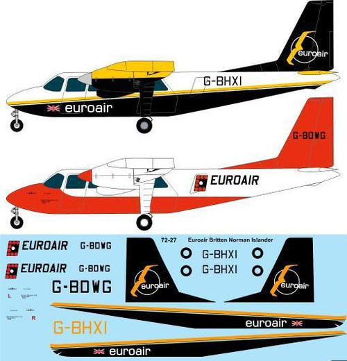 1/72 Scale Decal Euroair Britten Norman Islander