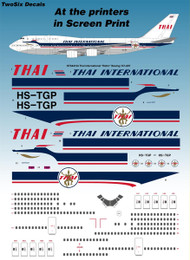 "1/144 Scale Decal Thai International ""Retro"" Boeing 747-4D7"