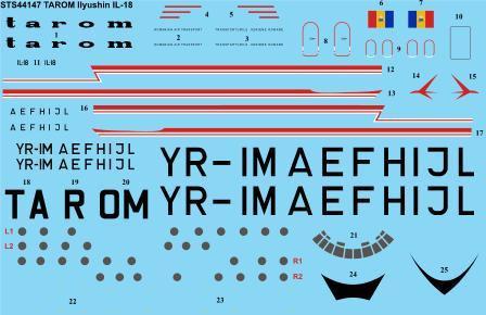 "1/144 Scale Decal Tarom ""early"" Ilyushin IL-18"