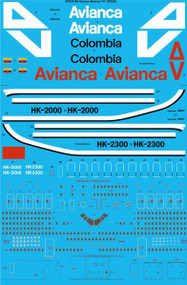 1/144 Scale Decal Avianca Colombia Boeing 747-100/200