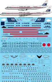 1/144 Scale Decal Japan Air Lines JAL Douglas DC-8-61 & 62