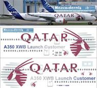1/144 Scale Decal Qatar A350-900 Lauch Customer