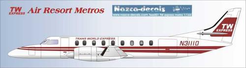1/144 Scale Decal TWA Express / Air Resort Metro