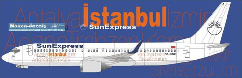 1/144  Scale Decal SunExpress 737-800 Special Cities Livery