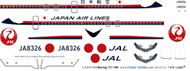 1/144 Scale Decal JAL-Japan Air Lines 727-100