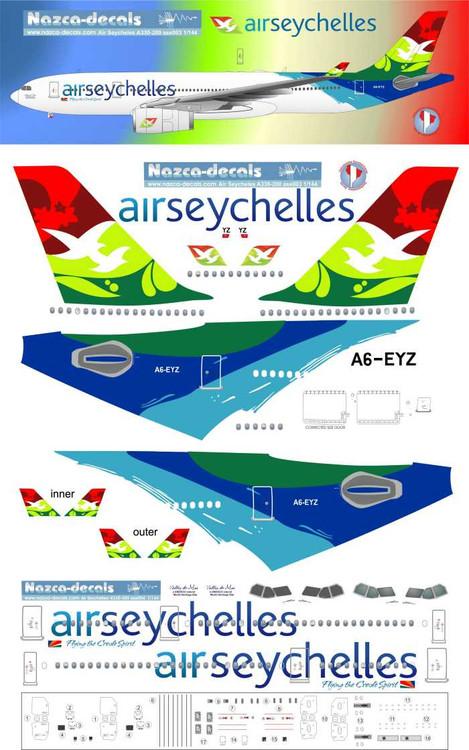 1/144 Scale Decal Air Seychelles A-330