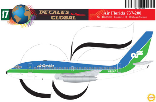 1/144 Scale Decal Air Florida 737-200