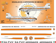 1/144 1/72 1/48 Scale Decal Aeronaves de Mexico DC-3 60's
