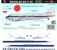 1/144 1/72 1/48 Scale Decal Aeronaves de Mexico DC-3 50's