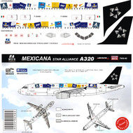 1/144 Scale Decal Mexicana A-320 Star Alliance