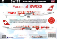 1/144 1/200 1/400 1/500 Scale Decal 777-300 Faces of Swiss