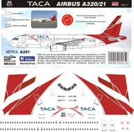1/144 Scale Decal TACA A-320 / A-321 2010