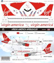 1/144 Scale Decal Virgin America A-320