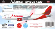 1/144 Scale Decal Avianca A-320 2015
