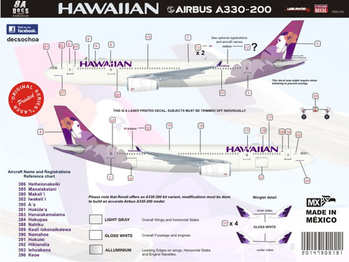 1/144 Scale Decal Hawaiian Airlines A330-200