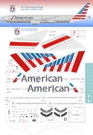 1/200 Scale Decal American 777-300