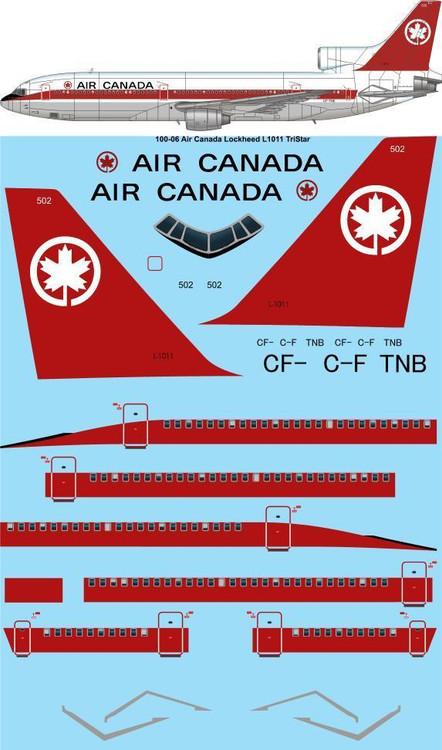 1/100 Scale Decal Air Canada Lockheed L1011 TriStar