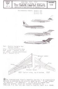 1/144 Scale Decal Western / CPAir 737-200 Ansett-Ana / Braniff International 727
