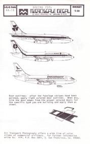 1/144 Scale Decal Piedmont / NAC / Aer Lingus 737-200