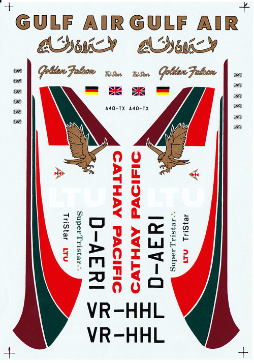 1/144 Scale Decal LTU / Gulf Air / Cathay Pacific L-1011