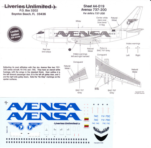 1/144 Scale Decal Avensa 737-200