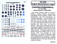 Decals Pratt & Whitney, GE , Rolls-Royce, IAE various engine marking and scales