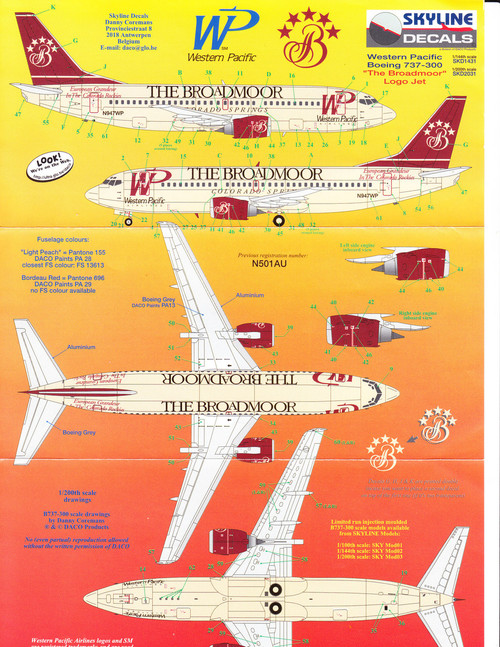 1/200 Scale Decal Western Pacific 737-300 The Broadmoor