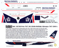 1/144 Scale Decal British Airways 767-200