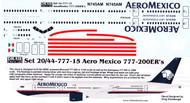 1/144 Scale Decal Aero Mexico 777-200ER
