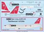 1/144 Scale Decal Northwest A-320