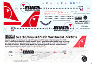 1/144 Scale Decal Northwest A-319