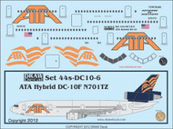 1/144 Scale Decal ATA - American Trans Air DC-10 Hybrid