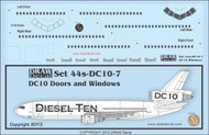1/144 Scale Decal DC-10 Cockpit / Windows / Doors