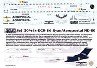 1/144 Scale Decal Ryan International / Aeropostal MD-80