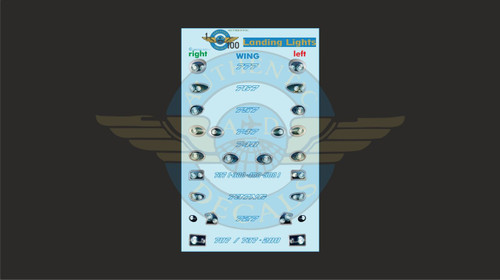 1/100 Scale Decal Landing Lights 777 / 767 / 757 / 747 / 737 / 727 / 707