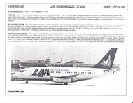 1/200 Scale Decal LAM Mozambique 737-200