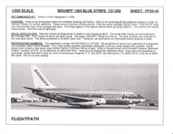1/200 Scale Decal Braniff 737-200 BLUE STRIPE