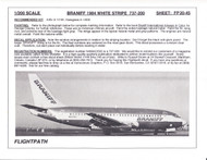 1/200 Scale Decal Braniff 737-200 WHITE STRIPE