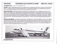 1/200 Scale Decal Continental Airlines 727-100 / 200