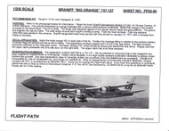 1/200 Scale Decal Braniff International 747-127 BIG ORANGE