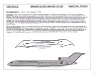 1/200 Scale Decal Braniff Ultra 727-200 RED 1990
