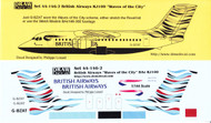 1/144 Scale Decal British Airways RD-100 Waves of the City