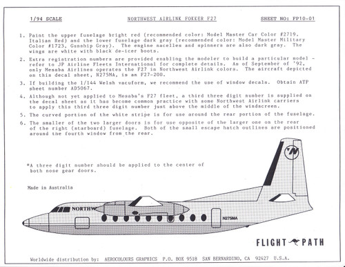 1/94 Scale Decal Northwest Airlink F-27