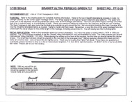 1/100 Scale Decal Braniff International 727-100 / 200 ULTRA PERSEUS GREEN