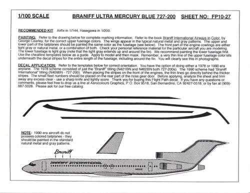 1/100 Scale Decal Braniff International 727-200 ULTRA MERCURY BLUE