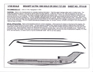 1/100 Scale Decal Braniff International 727-200 ULTRA GOLD OR GREY
