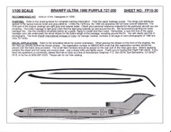 1/100 Scale Decal Braniff International 727-200 ULTRA PURPLE