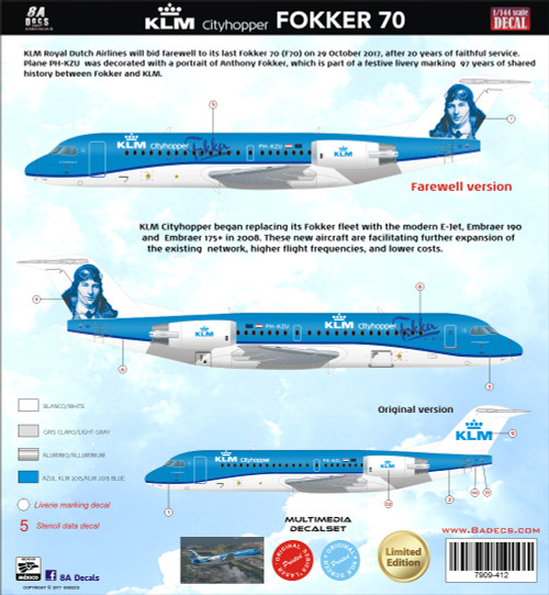 1/144 Scale Decal KLM F-70 Farwell